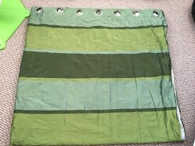 Green faux silk curtains