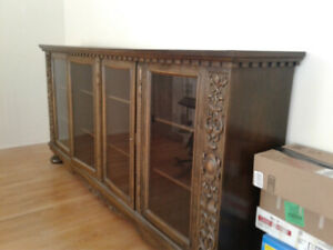Quality  Antique Belgian Oak library/display cabinet very large