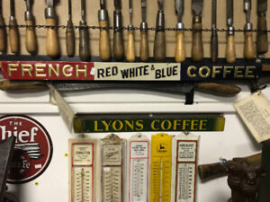 LYONS COFFEE & FRENCH RED WHITE & BLUE COFFEE METAL STRIP SIGNS