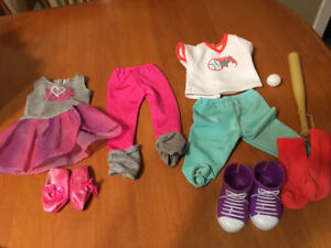 "18"" doll clothes dance and baseball outfits fits American girl"