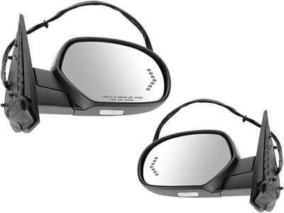 For GMC Chevy Pickup SUV 07-14 Mirror Power Folding Memory Signal Textured Pair