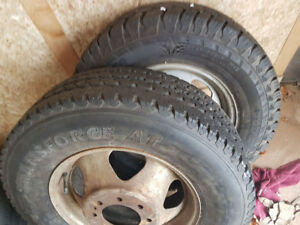 Two chev one ton dually rims and tires