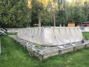 POOL ,Above ground 13' x22' salt water sand filter and all acces