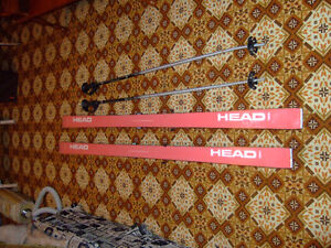downhill skis and poles for sale - $40