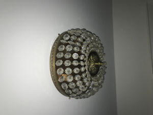 Crystal and brass ceiling mount fixture