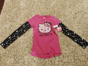 Brand New Girls LG (14-16) Hello Kitty Mock T-Shirt /Long Shirt