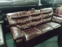 As new 3 seater leather sofa set
