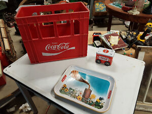 Coca-Cola tray, crate and tin
