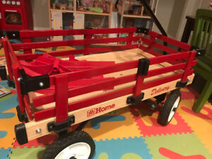 Retro red wagon and sleigh