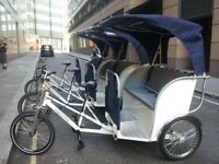 Rickshaws / pedicabs / taxi bikes for events, private booking or festivals in London