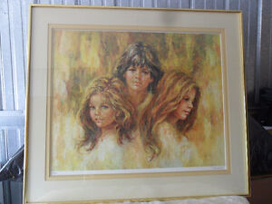 "Framed Limited Edition Lithograph ""WE THREE"" By Lisette DeWinne"