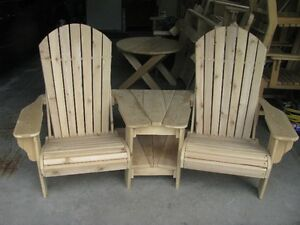 MUSKOKA CHAIRS, ARM CHAIRS, BENCHES,30' TABLES, ETC.