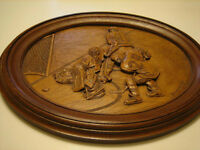 Vintage Wood Hockey Carving Kim Murray He Scores Creative Carvin