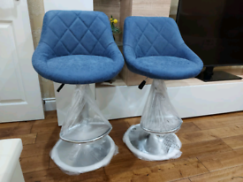 2 x Brandnew Breakfast Kitchen Bar stools Textured Blue Gas lifting