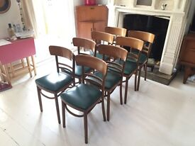 Now Sold - 8 Matched Bistro dining chairs - Bent wood with solid frames