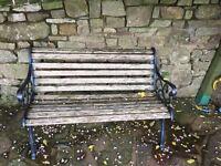 Oak slated bench x 2