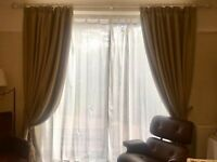 1 pair Curtains,pole, net and curtain tie x2