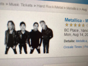 Metallica tickets x2 ($450 total for both)