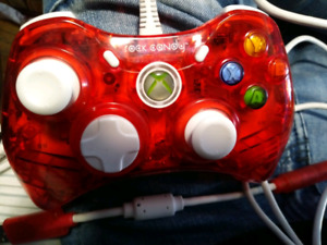 Xbox 360 remote ( red , rock candy plug in controller)