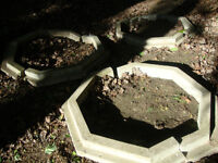 3 octagon shaped cements for the base of the tree