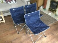 3 x Fold away camping, hiking, event chairs in storage bags
