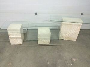 Glass top rock base tables