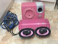 pink inphase amp sub an speakers