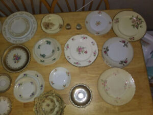 Assortment of old China plates