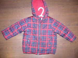 Red & blue plaid winter coat - size 2T London Ontario image 1