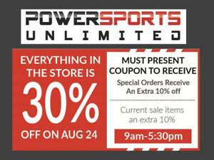 30% OFF EVERYTHING FOR MOTORCYCLES AND ATVS 1 DAY ONLY
