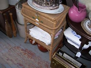 Antique portable wicker floor model Sewing chest basket