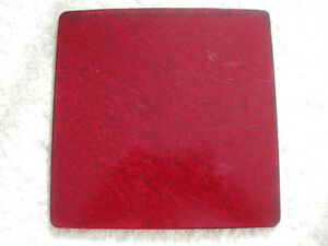 INTERESTING OLD ANTIQUE 6.5 in. SQUARE RUBY-GLASS TRIVET