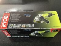 Ryobi angle grinder, 750W, 115mm. EAG750RSA3. Mint condition, in box