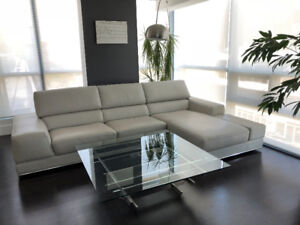 White Leather Reclining Sectional