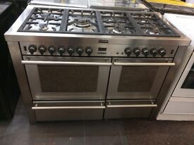 Stainless steel stoves 120cm seven burners dual fuel cooker grill & triple oven good condition with