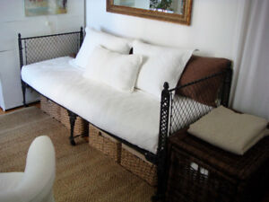 Antique 19th Century Cast Iron Folding Campaign Bed / Day Bed