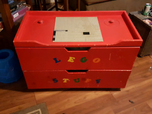 Lego chest  and miscellaneous small toys