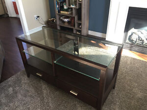 Solid wood and glass TV stand