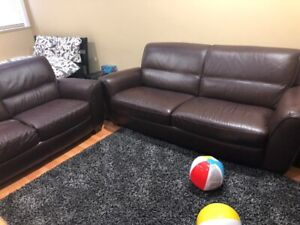 Brown Natuzzi Leather Sofa and Love Seat-$500.00
