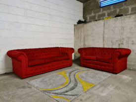 FREE DELIVERY 🚚 Stunning Red fabric chesterfield 2+3 sofa suite, Couc