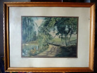 """Hand Colored Photo After Wallace Nutting """"Natural Path"""" 1920's"""