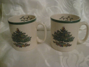 2 Spode England Christmas Tree Mugs