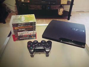 Sony PS3 Slim Game Console, 10 PS3 Games & 2 Controllers