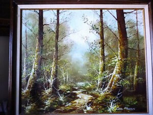 "Forest Landscape Painting by Carl Madden ""Forest Road"" 1970's"