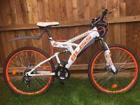 """Full Suspension Mountain Bike 26"""" Bliss White-Orange 21 Gear"""