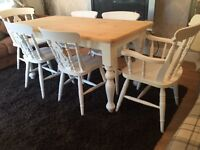 Gorgeous 5ft Shabby Chic Farmhouse Pine Table and 6 Lovely Chairs