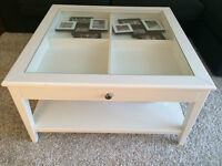 Large White Coffee Table with Glass Top and Drawer