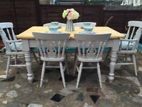 Shabby chic solid pine dining table with 6 chairs (2 carvers)