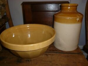 Old Stoneware Pot and Bowl-REDUCED PRICE
