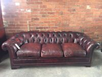Oxblood / Brown Leather Chesterfield 3 Seater Sofa - UK Delivery